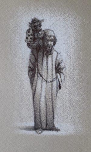 Homme au singe - JF GANAS